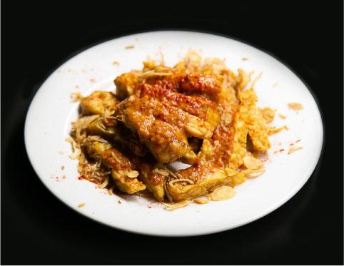 テンペフライ、ピリ辛トマトピーナッツソース